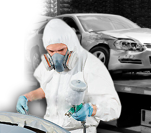 Man painting car